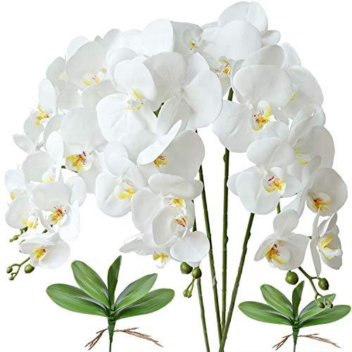 FagusHome 4 Piezas Flores Artificiales Orquídea Phalaenopsis Mariposa 80cm con 2 Piezas Hojas de Orquídea Phalaenopsis Hojas (Blanco)