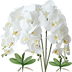 FagusHome 32″ Artificial Phalaenopsis Flowers 4 Pcs with 2 Bundles Leaves Artificial Orchid Flowers Stem Plants Fake Butterfly Phalaenopsis Flowers for Home Wedding Party Décor