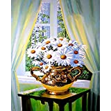 Paint by Numbers Kit for Adults Kids Daisy Canvas with Paintbrushes Color Acrylic DIY Drawing Premium Quality Paintwork 40x50cm