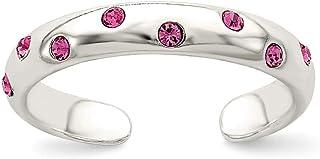 Diamond2Deal - Anello da piede in argento sterling con zirconia cubica rosa
