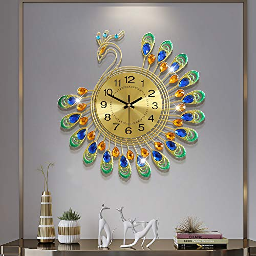 FLEBLE Gold Wall Clock Digital Silent Non Ticking Metal Clocks Crystal Peacock Vintage Art Decoration Wall Clock for Living Room,Bedroom,Kitchen Space 14.96 inch