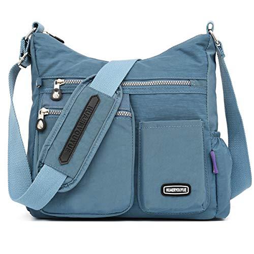 STUOYE Crossbody Bag for Women Multi Pocket Shoulder Bag Nylon Lightweight Messenger Bags Travel Purses and Handbags (1311 Steel Gray)