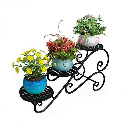 Porte-fleurs Art de fer Multicouche de style européen Sur pied Au sol pour intérieur et extérieur Porte-pots de fleurs 3 couleurs (Couleur : A)