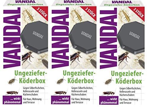 VANDAL 3 x Ungeziefer-Köder-Box Set wirkt phänomenal gegen Silberfischchen, Kellerasseln und Küchen-Schaben