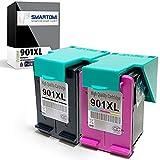 SMARTOMI Remanufacturado 901XL 901 Compatibles con HP 901 XL Cartucho de Tinta para Officejet 4500AIO Series J4540 J4550 J4580 J4680AIO Series 2 Cartuchos
