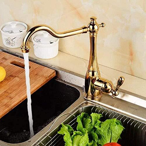 TJJL Stil Goldplatte Küchenspüle Wasserhahn Einhebel Deck montiert Wasserhahn Wasserhahn 360 Grad rotierende Heiß- und Kaltwasserhahn