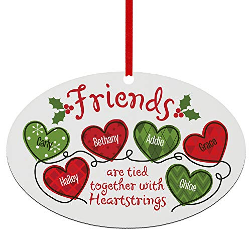 Let's Make Memories Personalized Oval Ornament - Friends Tied Together with Heartstrings Quote - Friends Ornament - Customize with Up to 6 Names - Custom Christmas Ornament - 5.25' W x 3.5' H