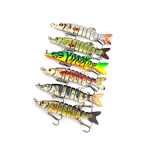 "ods lure Pike Lures Multi Jointed Swimbaits 3.5'-8' Fishing Bait Realistic Swimming Lure Freshwater Saltwater (3.5"" Pike Lures-6 pcs)"