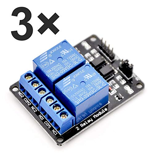 ARCELI 3 pz 2 Canali DC 5 V Modulo Relè per Arduino UNO R3 DSP ARM PIC AVR STM32 Raspberry Pi con Optoaccoppiatore Low Level Trigger Expansion Board