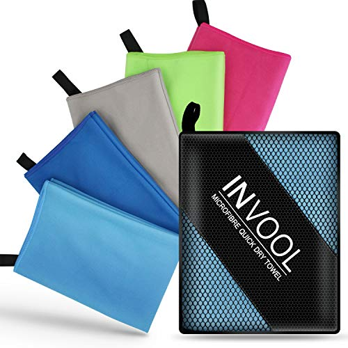 Invool Microfiber Towel, 5 colours (Blue) with carry bag - Quick Dry Towel...