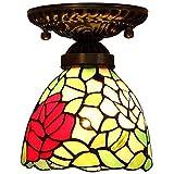 BJYG 6-Zoll-Stil Deckenleuchte, kreativ dekoriert Wohnzimmer Esszimmer Bar Leuchten, Glasmalerei Rose Schatten mit Metall-Kronleuchter