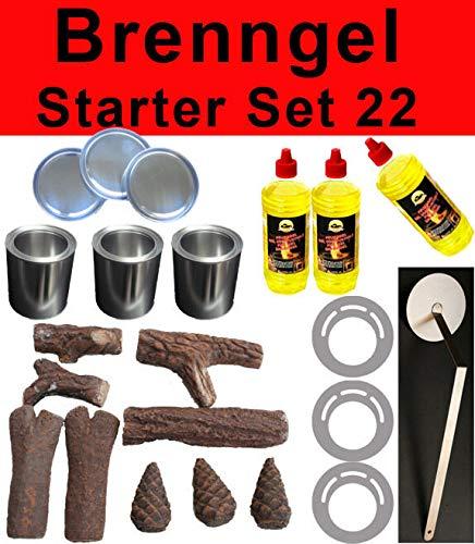 Brandgel starterset 22 delen ethanol keramiek hout brandgel spaarplaten open haard