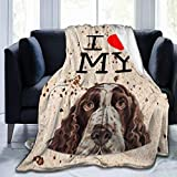 Arrisum I Love My English Springer Spaniel Dog Flannel Fleece Blanket, Super Soft Micro-Velvet Blanket, Super Soft Hypoallergenic Plush Bed Sofa Living Room50 X40