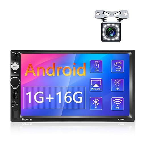 Podofo Android 9.1 Radio Coche Estéreo 2 Din Con 7 Pulgadas 1080P HD Pantalla táctil, Autoradio Android Soporte Bluetooth Llamadas + WiFi + Navegación GPS + Cámara de Visión Trasera + USB + Tarjeta TF