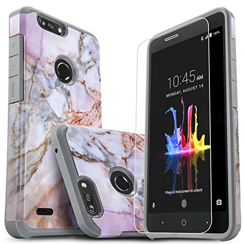 Star for ZTE Blade Zmax/ZTE Sequoia/ZTE Blade Z Max Case, with [Premium Screen Protector Included] Dual Layers Impact Advanced Protective Shock Absorption Phone Cover-Marble Pattern