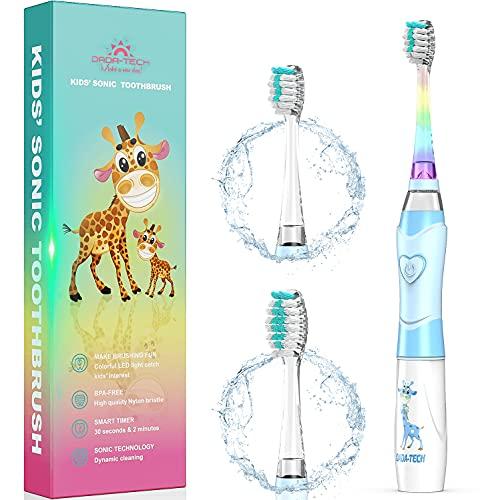 Elektrische Zahnbürste Kinder Ultraschall Batterie kinderzahnbürste mit Timer mit Schalltechnologie für Jungen und Mädchen (Blue Last)