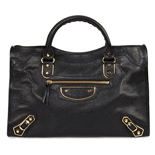 Balenciaga Classic Metallic Black Grain Goatskin Edge City Bag