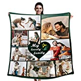 Personalized 9 Photos Collage & Texts My Lovely Family Blanket, Custom Throw Blankets for Family Customized Gifts, 32'' X 48''