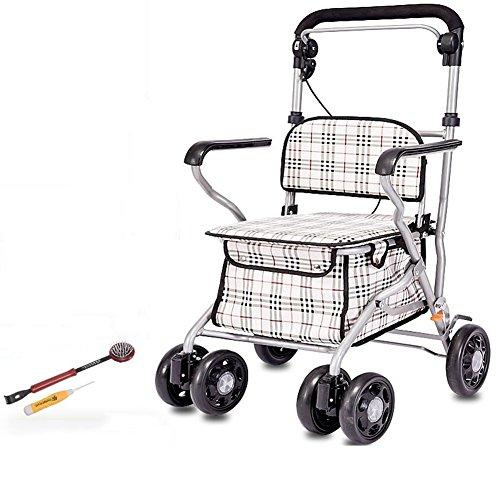 XYLUCKY Carrito De La Compra Plegable De Acero - Mobility Walker Portátil Rollator con 4 Ruedas Y Un Freno - Mobility Aid para Adultos, Personas Mayores, Ancianos Y Discapacitados 🔥