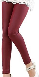 efa60fd3180 DianShaoA Niña Leggins PU Cuero Artificial Leggings Cintura Elástica  Pantalones De Lápiz Jeggings