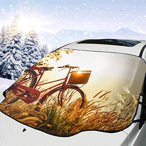 Tcerlcir Cubierta del Parabrisas del automóvil Imagen Hermosa del Paisaje Bicicleta Puesta del Sol Cubierta de la Nieve del automóvil, Parasol para Quitar el Hielo del vehículo, 147x118cm