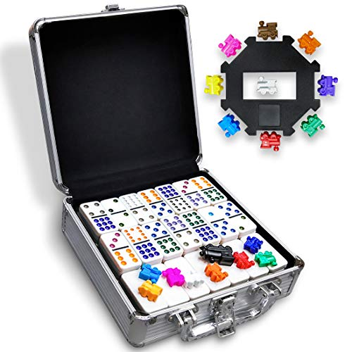 Yinlo Mexican Train Dominos Game Set, 91 Tiles Double 12 Color Dots Dominoes Set for Travel Dominoes Game with Aluminum Case