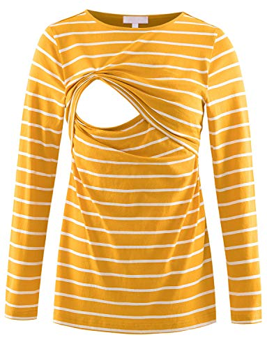 Product Image of the Long Sleeve Nursing Shirt Maternity Tops for Breastfeeding Tee Yellow Striped L