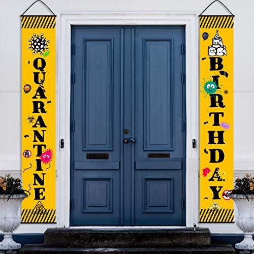 Quarantine Birthday Door Banner | 2 Pieces Quarantine Birthday Banners Happy Quarantine Birthday Porch Sign | Quarantine Themed Birthday Party Banner Hanging Yard Signs for Indoor Outdoor Decorations Supplies