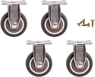 4 stuks platte zwenkwielen, geruisloze rubberen zwenkwielen met lagers, bewegende meubelwielen met remmen (1/1,25/1,5/2 in)