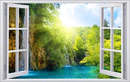 DesFoli Fenster 3D-Optik Wandtattoo 70 x 110 cm Wandbilder Sticker Aufkleber Bild (F009)