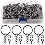 Swpeet 450Pcs 1' 25mm Gun-Black Key Chain Rings Kit, Including 150Pcs Keychain Rings with Chain and 150Pcs Jump Ring with 150Pcs Screw Eye Pins Bulk for Jewelry Findings Making (Gun-Black)