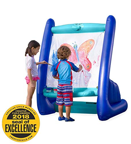 HearthSong Heavy-Duty Vinyl Inflatable Indoor and Outdoor Easel for Kids with Paints, Sponges, Paintbrush, and Built-in Art Tray, 39