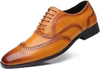 [Aisxle] ビジネスシューズ メンズ 皮革 レースアップ ウイングチップ 紳士靴 革靴 通気性 防滑 ブラック ブラウン イエロー