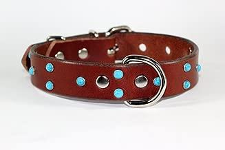 RAD N BAD COLLARS Brown Leather Dog Collar - Turquoise Dog Collar - Handmade Leather Dog Collar Made in USA