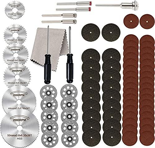 Cutting Wheel Set 80Pcs for Rotary Tool,HSS Circular Saw Blades 6Pcs,545 Diamond Accessories Cutting Wheels 10Pcs,Resin Cutting Discs 56Pcs and 1/8