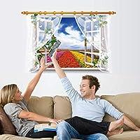 偽の窓3D風景ウォールステッカー家の装飾リビングルームの寝室の花つる壁デカール画面風川アート壁画ポスター90X60Cm