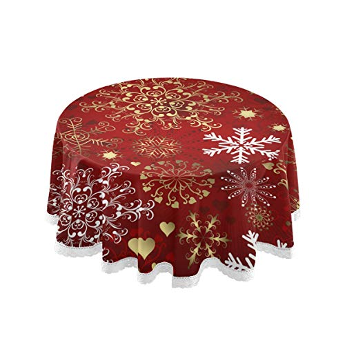 """ZZKKO Xmas Snowflake Round Tablecloths 60"""" Happy New Year Circular Table Linen Cloth Cover Mat Lace Washable Polyester for Dinner Party Holiday Home Decor"""