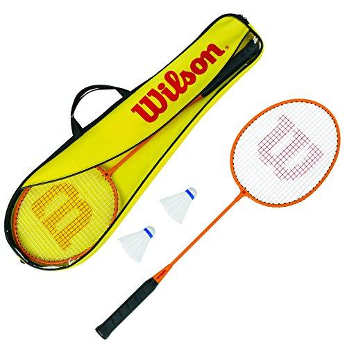 Wilson Gear Kit Set Incluye 2 Raquetas de bádminton, 2 Volantes de plástico y 1 Bolsa de Transporte, Unisex, Naranja/Amarillo, Talla Única