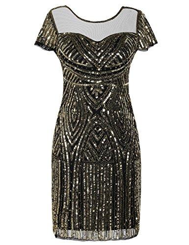 PrettyGuide Women's Flapper Dress Bead Sequin Great Gatsby Dress Short Sleeve S Gold
