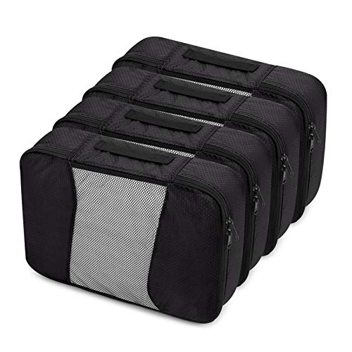YuuHeeER Packing Cubes Sealed Bag For Clothes Quilt Travel Luggage Organizers Mesh Suicase 4 M Black