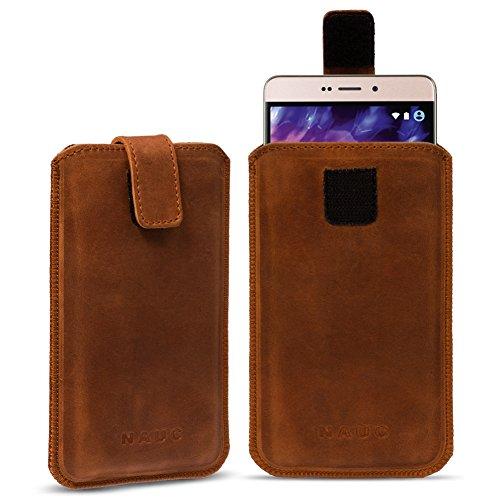 Leder Tasche für Medion Life Smartphone Handy Hülle Cover Pull Tab Lederhülle , Farbe:cognac Braun;Smartphone:Medion Life E4504