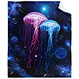 Jellyfish Seabed Creature Blanket Cozy Soft Lightweight Flannel Throw Blanket for Bed Sofa Travel All Season 50'x40'