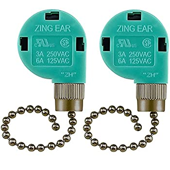 2 Pack Dotlite Ceiling Fan Switch UL Listed 3 Speed 4 Wire Pull Chain Switch Cord Appliances Speed Control Switcher Replacement Parts Compatible with Ceiling Fans Wall Lamps-Bronze