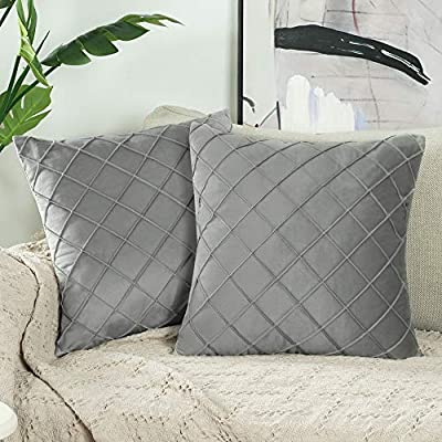 """NordECO HOME Velvet Decorative Throw Pillow Covers,Soft Plaids Accent Solid Square Cushion Case Pillow Cases Set for Couch Sofa Bedroom Car Living Room,18"""" x 18"""" Inch, Grey, 2 Pack"""