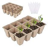 ASY Kit De Bandeja De Inicio De Semillas De 5 Piezas, 12 Rejillas, Bandejas De Semillas Biodegradables con Etiquetas De Plantas De 5 Piezas, Tazas De Iniciación De Plántulas