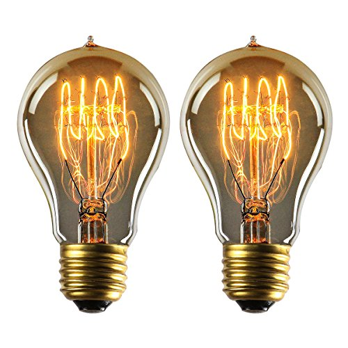 YUNLIGHTS Dimmable Edison Lampe A19 220-240V 40W 140lm E27 Edison Ampoule Antique Lampe Blanc chaud- 2 Pack
