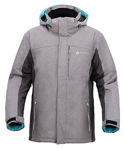 Men's Performance Insulated Ski Jacket with Zip-Off Hood,Dr Gry/Li Gry/Teal,XXL
