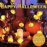 Lamantt - Luci a LED per Halloween, 20 luci LED a forma di zucca, 20 LED impermeabili, per decorazioni per esterni e interni, 2 modalità costanti/tremolanti Jack-O-Lanterna