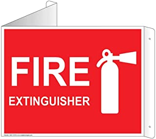 Fire Extinguisher Wall Sign, Triangle Projection-Mount, 9x7 inch Red Aluminum for Fire Safety/Equipment by ComplianceSigns