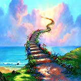 Rovepic 5D Diamond Painting Kits Heaven Stairs Round Full Drill, DIY Paint with Diamonds Art Sea Blue Sky White Clouds Crystal Rhinestone Cross Stitch for Home Office Wall Crafts Decorations 14x14Inch